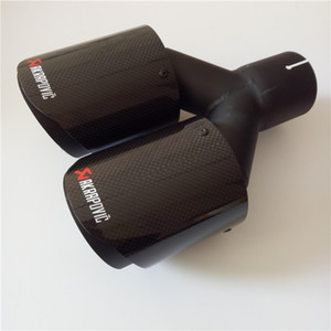 1 PCS Akrapovic Coated Black Car Carbon Exhausts Dual Tips Universal AK Coated Black Carbon Dual End Muffler Pipes