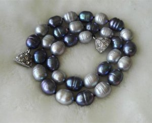 Wholesale Freshwater Pearl Necklace Big Size mm Gray Black Color Real Pearl Jewellery Magnet Clasp