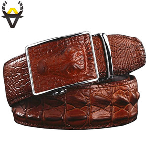 Wholesale Fashion Men s belts Luxury Genuine leather Crocodile designer Automatic Belt man buckle Real Cow skin Wide girdle for Jeans male