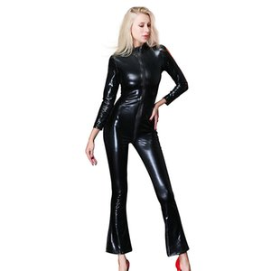 Wholesale Drop shipping Women Faux Leather Jumpsuit Catsuit Sexy Motorcycle Costumes Bodysuit European and American Women Skinny Clubwear