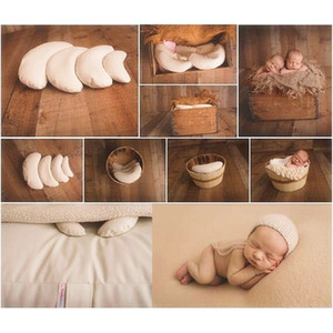3PCS Set PU Leather Baby Pillows Photography Costume Moon Posing Props Pillows Newborn Photography Props Basket Filler Fotografia