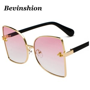 Wholesale 2018 New Small Bee Big Frame Sunglasses Female Oversized Celebrity Metal Yellow Pink Lens Pearl Legs Mirror
