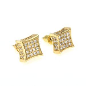 Wholesale New Arrival Mens Cubic Zirconia Diamond Earings Fashion Men Jewelry Hip Hop Copper White Gold Filled Crystal Stud Earring Jewelry KKA1793