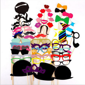 Wholesale mustache masks for sale - Group buy Lot58pcs Set Creative Mask Funny DIY Photo Booth Props Glasses Mustache Lip On A Stick Wedding Birthday Party Fun Decoration Halloween Gift