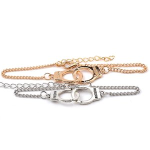 Wholesale Pop Handcuffs Jewelry Letter character handcuffs Women Men Street Style Freedom Novelty Link Chain bracelets Gift for Graduation