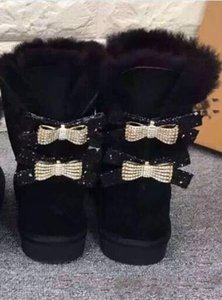 Wholesale Australia Classic WGG single double diamond Snow boots female winter leather bow rhinestone crown warm thick Cotton shoes