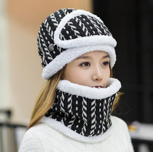 New Thick Warm Beanies infinity Scarf Mask 3pcs set For Women Girs Hats Winter Scarf Ear Protection Print Hats Set Female