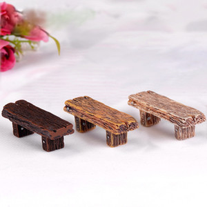 Wholesale Long Wood Bench Miniature Figurine Fairy Garden Micro Landscape DIY Accessories Doll House Moss Decoration Resin DHL
