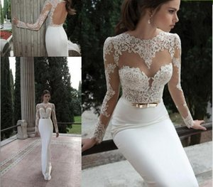 2018 New Illusion Long Sleeve Crew Neckline with Appliques Lace Backless Vestidos de Noiva Sexy Wedding Dresses Sheath Berta Bridal Gowns on Sale
