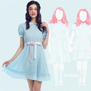 New Halloween Cosplay Costume The Shining Lisa & Louise Burns Grady Twins Adult Kids Blue Girl Party Lolita Dress Gifts