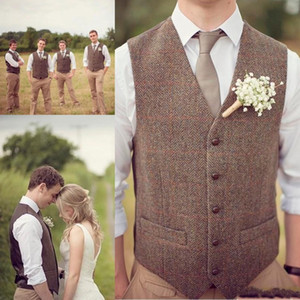Wholesale Cheap Country Groom Vests Brown Wool Herringbone Tweed Vests Custom Made Groom Vest Slim Fit Mens Suit Vest Groomsman Prom Wedding Waistcoat
