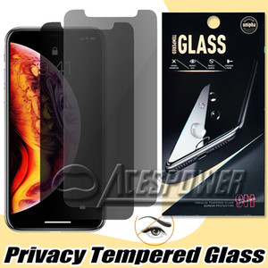 For Iphone 11 Pro XR XS MAX X Privacy Screen Protector Anti-Spy Real Tempered Glass For Samsung S7 J7 Prime Moto LG Stylo3