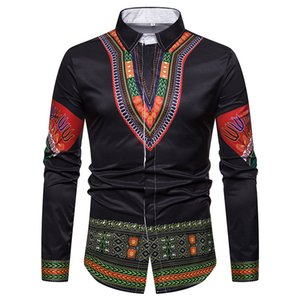 Wholesale Men Shirt African Clothes Traditional African Dashiki Mens Dress Shirts Slim Long Sleeve Social Shirt Male Camisa Hombre