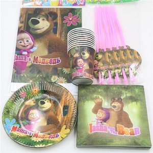 Wholesale 51pcs Birthday Decoration Masha and Bear Theme Disposable Paper Cups Glass Plates Kids Boys Girls Event Party Supplies