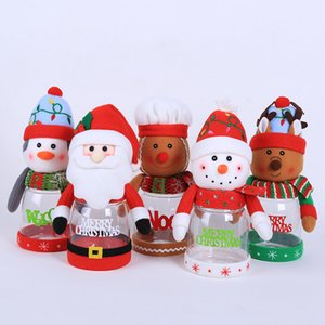 Wholesale 2019 Christmas candy jar Transparent plastic candy box Santa snowman elk Christmas decorations children small gifts