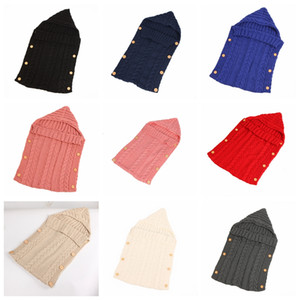 Wholesale Newborn Wrap Baby Sleeping Bag Infanted Hooded Wooden Buttons Wrap Warm Knit wool Sleeping Bag Swaddle Wrap Baby Blanket