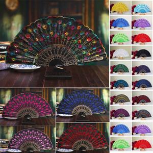 Handmade peacock Embroidery Fabric folding fan silk top grade bridal fans Bridesmaid fans hollow plastic handle wedding accessories Fold fan