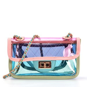 Wholesale 2018 New Transparent Bag Tide INS Mini Jelly Bag Crossbody Diamond Lattice Chain