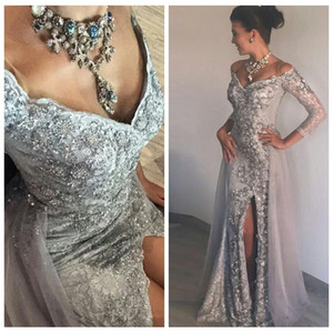 2019 Vintage Slim Silver Lace Appliques Prom Gowns 3 4 Sleeves Mermaid Sexy Side Split Lace Ladies Evening Party Gowns Custom Online on Sale