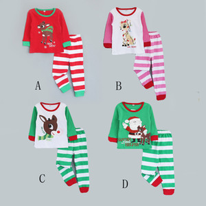 Wholesale santa claus sleepwear for sale - Group buy Baby Christmas Santa Claus Deer Elk Pajamas Kids Stripe Homewear Sets Cartoon Long SleeveTops Pants Sleepwear Sets Autumn Clothes