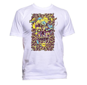 Wholesale Skull With Bird Coloured Yellow Blue T Shirt Mens Womens Unisex Fashion Slogan