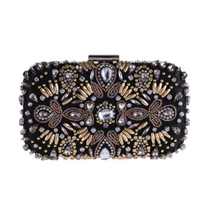 Wholesale Vintage Luxury GEM Rhinestone Black Evening Bags Clutch Women Long Chain Diamond Beaded Shoulder Bag Wedding Party Clutch Purse