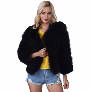 Wholesale 2017 Winter Faux Fur Coat Women Long Sleeve Chic Warm Short Style Luxury Fur Jacket Womens Fake Rabbit Outwear Ladies XL F3