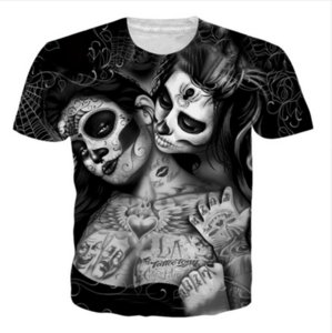 Wholesale New Fashion Mens Womans Tattoos Skull Hipster Tees Unisex D Print Casual T Shirt Tops Plus Size GL078