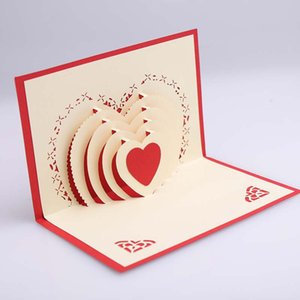 Wholesale 3D Pop Up Heart Shape Card Postcards Greeting Card Decoration Happy Anniversary Birthday Valentine Christmas