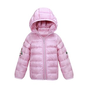 Girls Winter Coat 2018 Kids Clothes Children Clothing White Duck Down Coat Hooded Light Snowsuit Embroidery Chinese jacket 3-14Y