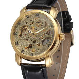 Wholesale ladies skeleton watches resale online - WINNER Luxury Women Golden Automatic Mechanical Watch Leather Strap Roman Number Skeleton Dial Top Brand Ladies Wristwatch SLZ82