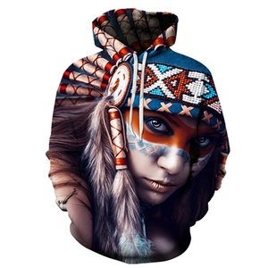 Wholesale 2018 New D Sweatshirts Unisex Indian Hoodies casual With Hat Print Unique Autumn Winter Loose Thin Hooded Sweatshirt Hoody Tops