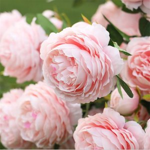 Wholesale 3 Heads Artificial Rose Peony Flower branch with leaves Silk flores peonies for indoor Home table decor diy wedding decoration