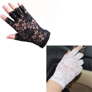 2016 Women vintage Amazing Goth Party sunscreen Sexy Dressy Lace Gloves anti-uv Mittens Fingerless Style