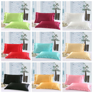 Solid Color Silk PillowCases Double Face Envelope Design Pillow Case High Quality Charmeuse Silk Satin Pillow Cover GGA100 20PCS