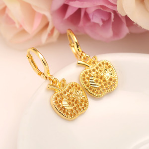 USA Main stream Sweet Apple star Earrings Women Girls 24k Fine Yellow Solid Gold Filled Earing Jewelry Gifts Indonesia Congo