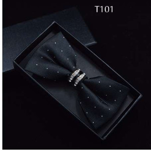 Wholesale Tuxedo Metal Crystal Wedding Bow Tie Men Women Butterfly Knot Cravat Black Purple Blue Jujube Red Groom Party Banquet Meet Club