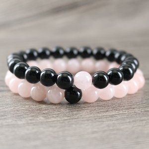Genuine Black Onyx Rock Stone Beads with Natural Rose Pink Crystal Beads Healing Lucky Energy Bracelets Couples Bangle Jewelry