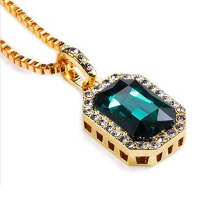 Wholesale Men Hip Hop Gem Pendant Necklace Charm for Fashion Green Red Blue Black White Crystal Design k Gold Plated cm Long Chain Jewelry