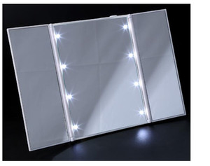 3 Sides Foldable 8 Flash led Light cosmetic mirror antique Desktop mirror New Elegant Makeup Mirror White