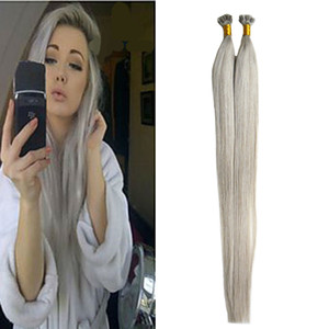 Wholesale Silver Grey Hair Extensions Flat Tip Human Hair Extensions g s Straight Loop Micro Ring Human Hair Extensions Micro Bead g pack