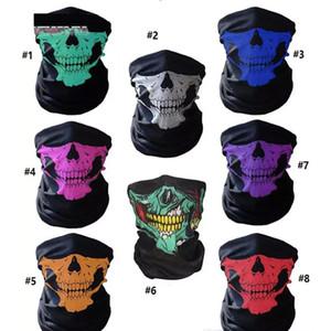 Unisex Halloween Cosplay Bicycle Ski Skull Half Face Mask Ghost Scarf Bandana Neck Warmer Party headband Magic Turban Riding Masks Scarf