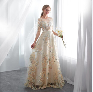 Wholesale 2018 new style A line In Stock colorful Wedding bridal Gowns scoop neck lace sleeves Wedding Gowns fairy floor length Bridal Dress