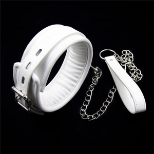 Wholesale White Collars Collar with Chain Fetish S M Slave Neck Cuffs BDSM Bondage Restraints Sex Products for Couples Sex Toys Women Men