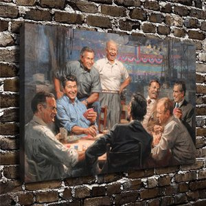 Republican Presidents Playing Poker Andy Thomas Grand Ol Gang,Home Decor HD Printed Modern Art Painting on Canvas  Unframed Framed
