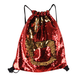Wholesale Mermaid Sequin Backpack Sequins paillette Drawstring Bags Reversible bling Outdoor Backpacks school bag Glitter Sports Shoulder Bag girl new