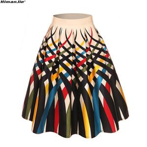 2018 Summer New 50s 60s Vintage Lady fruit ice dot lobster Print High Waist Pleated Midi Skirt Saia Longa Plissada