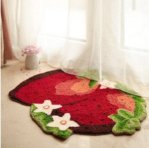 Wholesale strawberry mats for sale - Group buy Strawberry Imprint Area Rug Cute Doormat Hand embroidered Floor Mats Personalized Custom Toilet Carpets Pastoral Bathroom Carpet