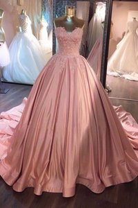 Wholesale 2018 Pink Ball Gown Prom Dresses Sweetheart Lace Ruffled Satin Corset Dusty Rose Quinceanera Dresses Sweet Gowns Evening Dresses