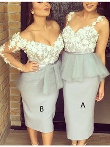 Tea Length Mermaid Bridesmaid Dresses 2017 New Two Different Style V Neck Lace Applique Grey Wedding Gown Dresses Custom Made Plus Size